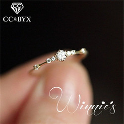 CC Rings For Women Trendy Jewelry Cubic Zirconia Simple Yellow Gold Small Fresh Agete Style Multicolor Ring Anel CC2114