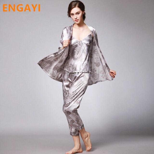 Sexy Lace Silk Satin Pajamas Pyjamas Pijamas Sets Nightgown Nightwear Night Gown 3 Pcs Autumn Women Robes Bathrobes Sets