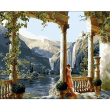 Diy Digital oil painting by numbers Temple wall decor picture on canvas oil paint coloring by number drawing landscape 40*50cm