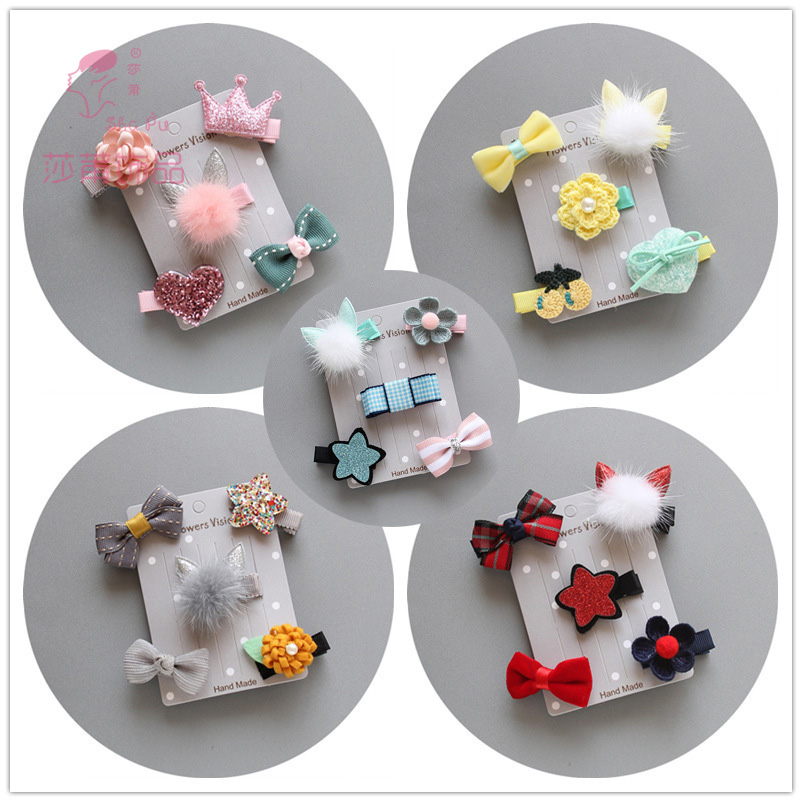 Shapu Children's Christmas baby girls cute hairpin suits thes