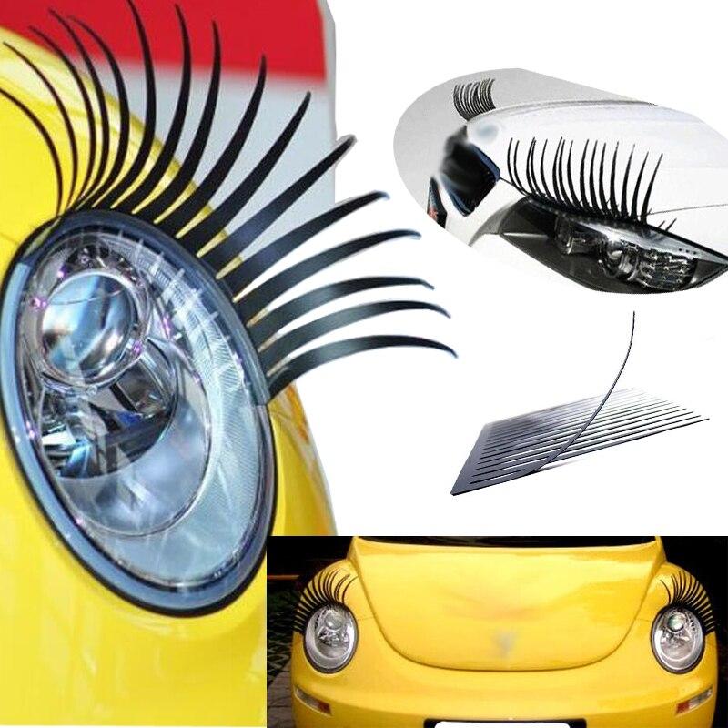 3D очаровательные черные накладные ресницы, 2 шт., наклейка на ресницы, украшение автомобильной фары, забавная наклейка для жука, VW, Honda, BMW, Opel