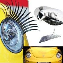 Adesivo de cílios postiços 3d, 2 peças, adesivo de olho falso preto encantador para carro, decoração de farol, decalque engraçado para beetle vw honda bmw opel