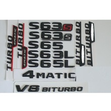 1 set Matt Black ABS Car Trunk Rear Number Letters Words Badge Emblem Decal Sticker for Mercedes-Benz S63