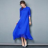Duży Rozmiar Stałe Kobiety Lato Kobieta Długa Sukienka Elegancki Noble Sukienka Do Kostek Prawdziwe Morwy Jedwabiu XXXL XXL XL L M
