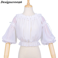 Original design of lolita dress Solid color word collar shirt lolita inside chiffon shirt Lolita dress bottoming shirt