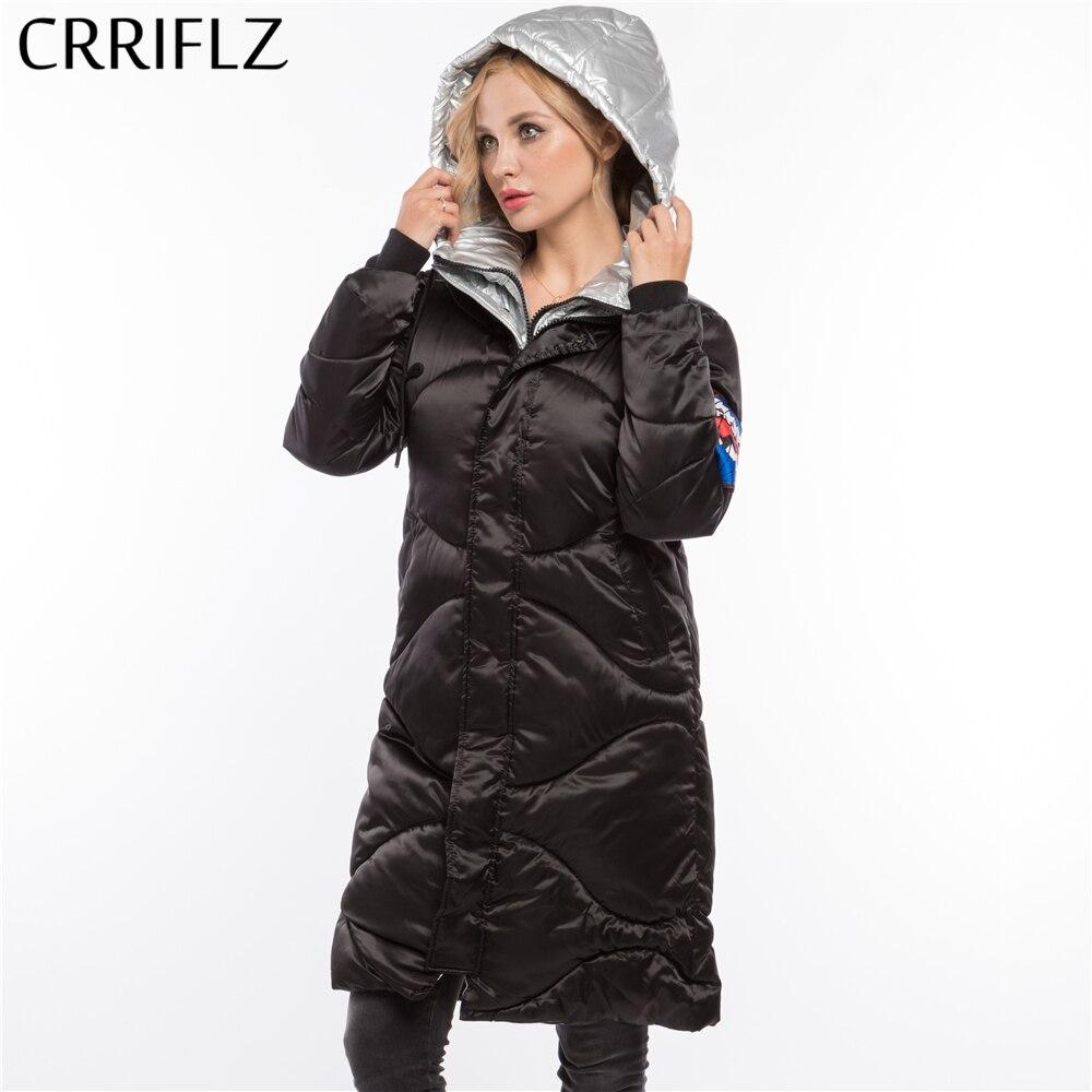 Fashionable Woman Slim Silver Jacket Warm Winter Jacket Women Hooded Coat Down Parkas Long Female CRRIFLZ
