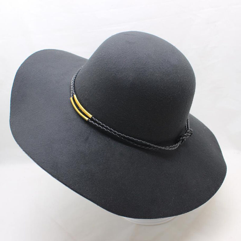 BING YUAN HAO XUAN New Hat Women Wing Wide Felt Bowler Hat Fedora Floppy Sun Cloche Women Cap Big Hat 9 Colors Outdoor
