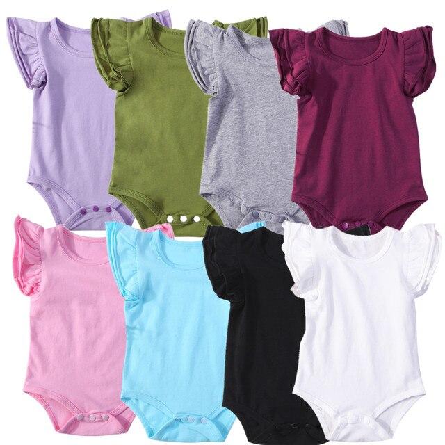 2018 neugeborenen Baby Mädchen Jungen Rüschen Kleidung Kurze Fliegen Sleeve Body Outfits Overall Beiläufige Feste Kleidung