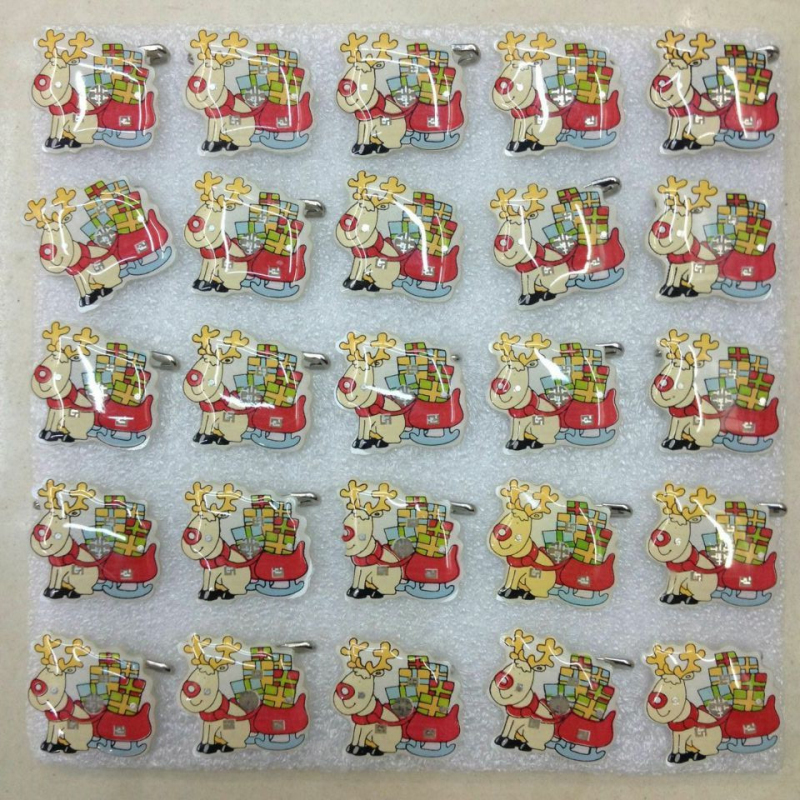 24Pcs Christmas Santa Claus Flashing LED Light Up Badge Brooch Pins Xmas Decorations Wedding Party Supplies happy new year