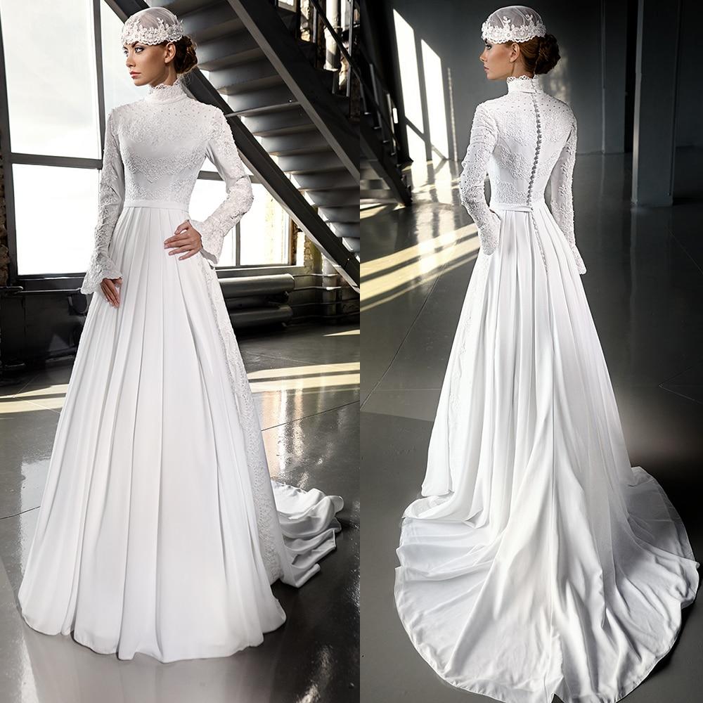 Luxury Ivory Chiffon Hijab Muslim Wedding Dress 2016