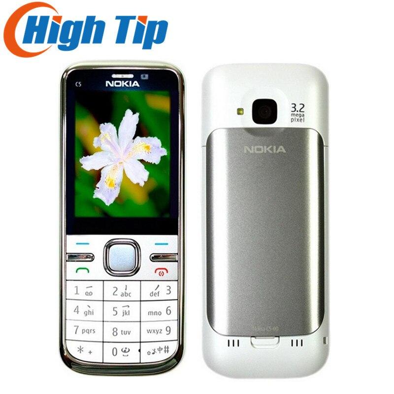 Nokia marque D'origine C5 Débloqué C5-00 Mobile Téléphone Caméra 3.15MP 5MP GPS Bluetooth Rénové livraison gratuite 1 année garantie
