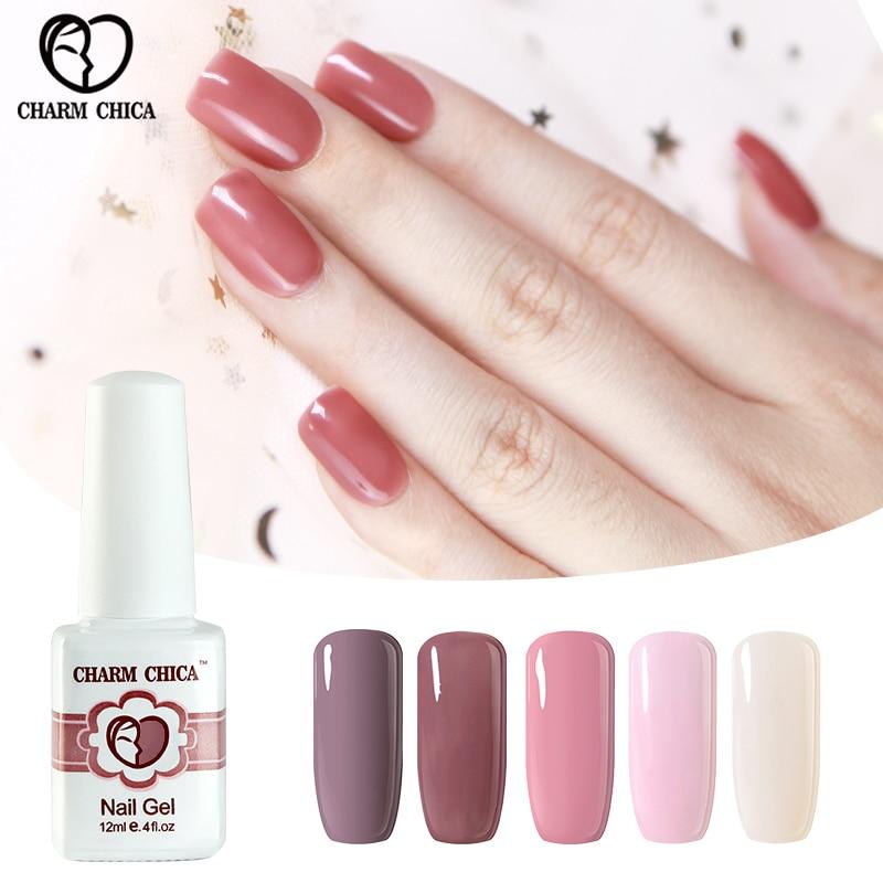 CHARM CHICA Nude Pink Black Colors UV Gel Nail Polish LED