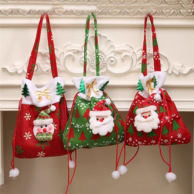 1pc Cute Christmas Gift Bags Sacks Merry Noel Decoration Good Surprised Shrink Wrap