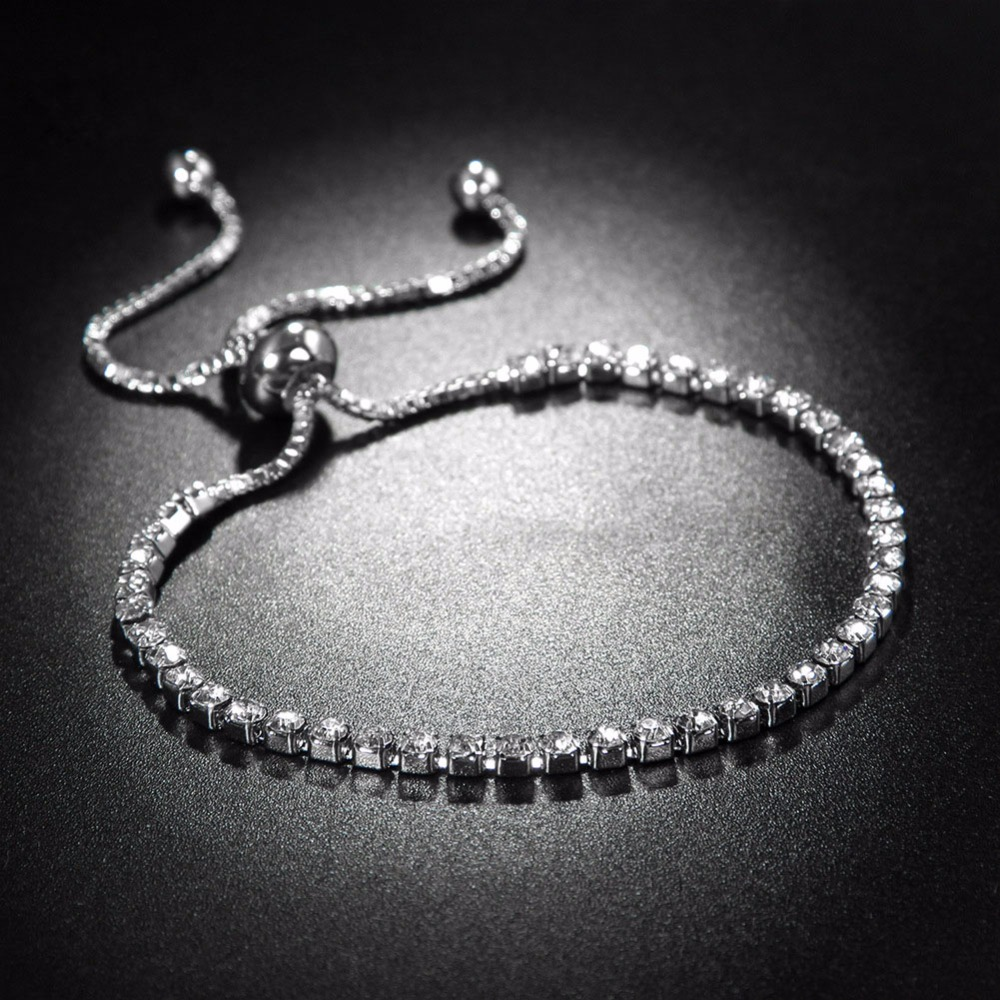 Fashion Women Rhinestone Cubic Zirconia Bracelet Bling Bling AAA Zircon Silver Bracelets Adjustable Female Bijoux Dropshipping