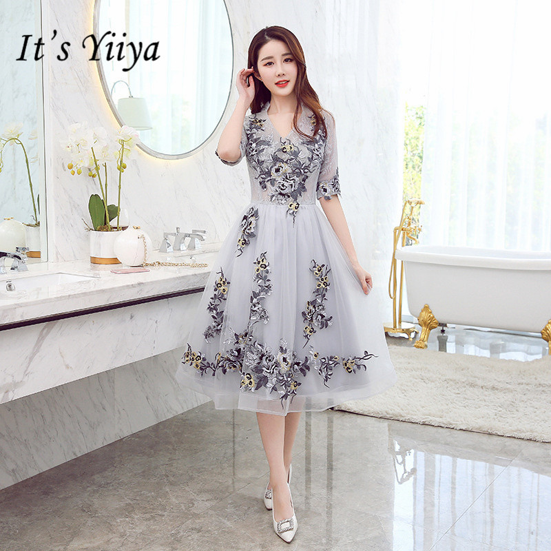 It's YiiYa New V-neck Gray   Bridesmaid     Dresses   Elegant Embroidery Slim A-line Knee-length Frocks H181