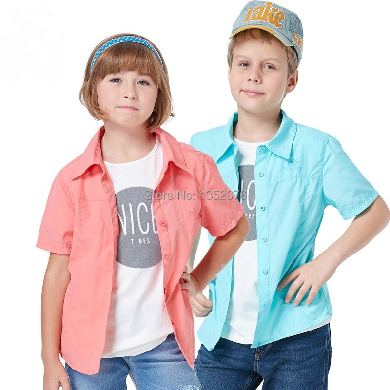 2016 New Summer Outdoor Sport Children Quick Dry Short-sleeve Shirts Anti-UV Breathable Kids Boys Girls Fast Dry Shirts 120-150#