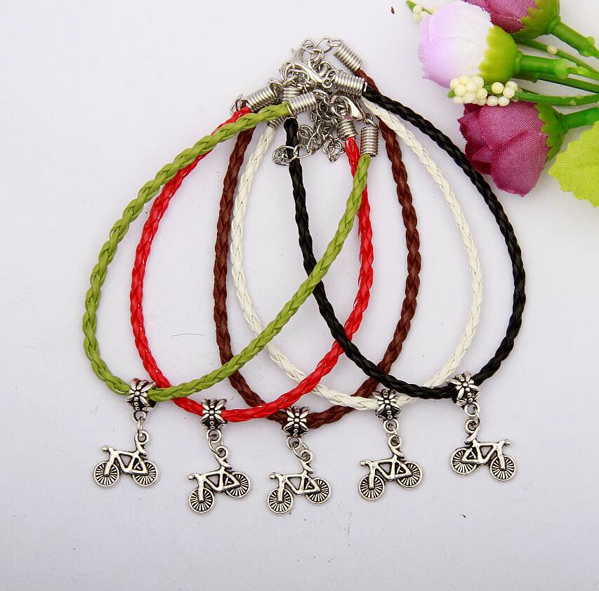 2017 Hot 30pcs/lot Ancient Silver Bicycle Charm Pendant Multicolor 20+5cm Braided Leather Rope Bracelet Women Jewelry Gift H652