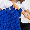 DIY Ball Thick Chunky Yarn Soft Merino Wool Yarn Bulky Arm Roving Knitting Blanket Hand Knit Spinning Crocheting Hat Scarf