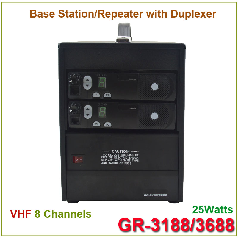 Brand New GR-3188/3688 Two-way Radio Base Station/ Repeater VHF 136-174MHz 25Watts 8 Channels With Duplexer(for Motorola)