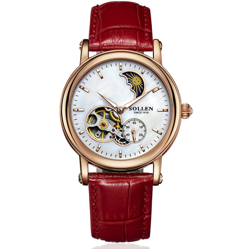 SOLLEN SL401 watches women luxury automatic mechanical hollow skeleton moon phase closer heart Italian calfskin rose gold red цена
