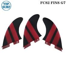 Surf FCS2 Fins G7 Light Red color FCS II Tri fin set Fiberglass upsurf new design