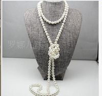 single strand AAA8 9mm south sea round white pearl necklace 48inch 14k