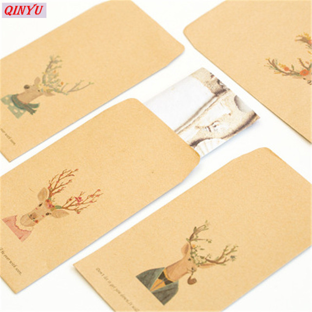 4pcs diy vintage deer envelopes cute retro kraft paper envelopes