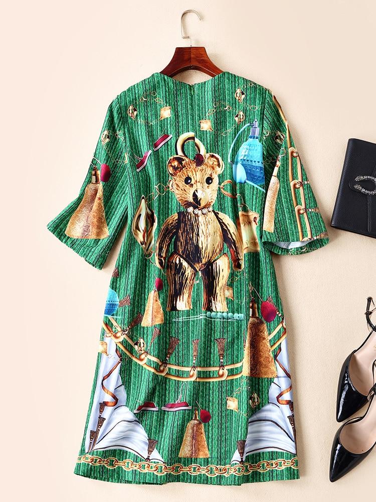 Ziwwshaoyu Fashion artoon Print dresses O Neck Diamonds temperament Slim Loose dress Spring and summer new women 39 s in Dresses from Women 39 s Clothing