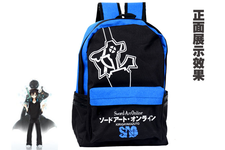 Characteristic backpack Sword art online SAO blud and black color elucidator pattern printing  daily backpack anime bag AB143