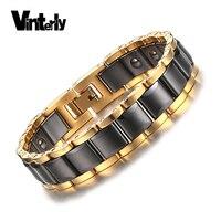 Vinterly Hematite Bracelet cho Nam Giới Năng Lượng Sức Khỏe Màu Vàng Đen Ceramic Vòng Tay Lắc Tay Men Hand Chuỗi Liên Kết Trang Sức