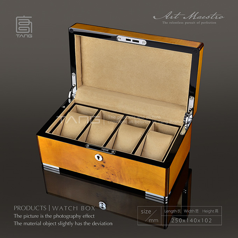 Top 4 Slots Watch Storage Box Case Yellow Color Watch Display Box Men's Mechanical Watch Boxes With Lock Women Jewelry Box A062 top quality leather watch display box with alloy lock new men s mechanical watch storage cases black jewelry gift box case