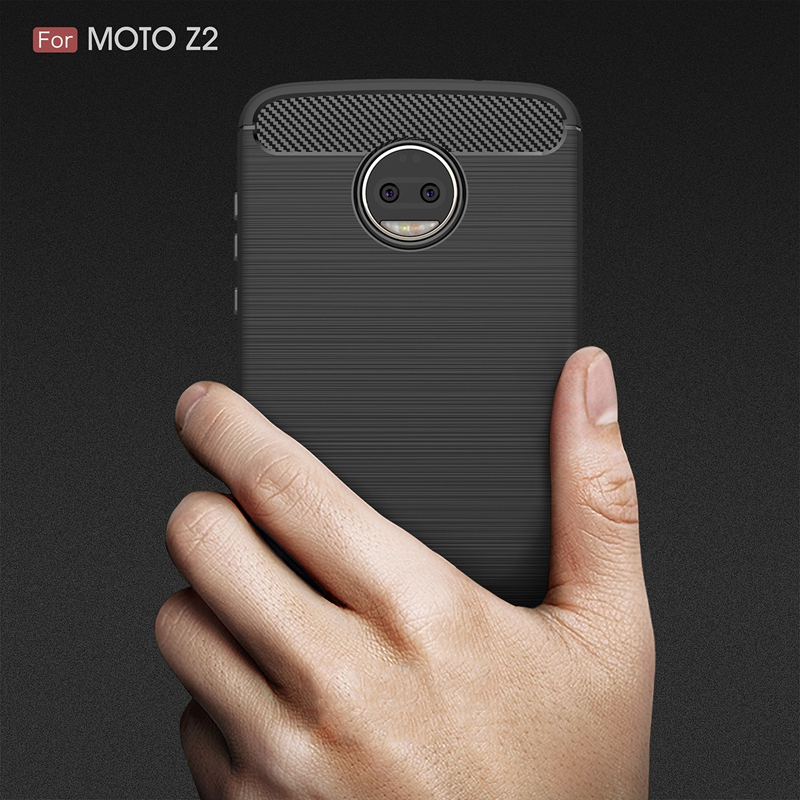 for Motorola MOTO Z2 / Z2 Force Case Soft TPU Cases Carbon Fiber Protector Back Cover Non-Skid Anti Scratch Mobile Rugged Armor