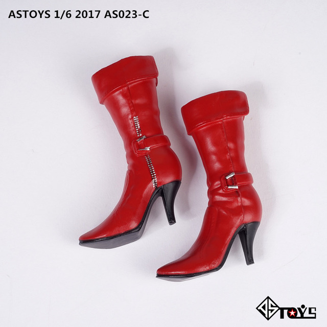 1//6 Female Shoes Over Knee High Heels Boots for 12 Inch Soldier Dolls Body