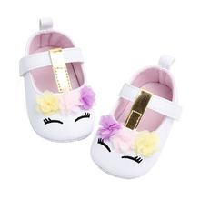Обувь для маленьких девочек обувь из искусственной кожи с цветами