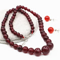 6-14mm Natural Red Garnet Jade Stones Jade Beads Jasper Round Jewelry Making Necklace Chain Earrings Sets Women Girls Gifts