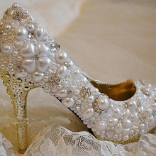 Elegant Imitation Pearl Rhinestone Wedding Bridal Pumps Shoes 10cm Heel Honeymoon Shoes Match Wedding Outfit Handmade Shoes