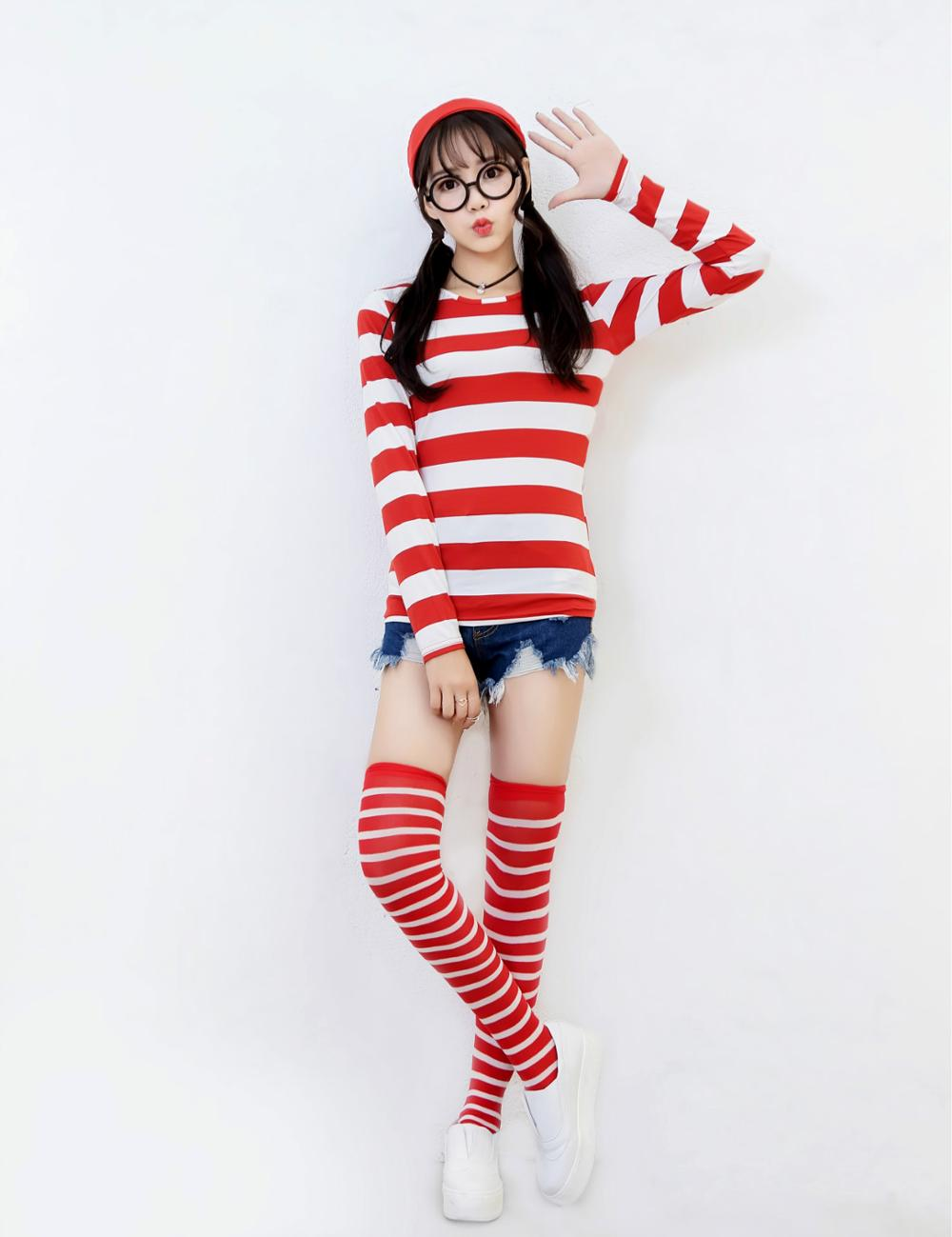 Family Wally Costume Women Man Child Anime Red White Stripe Cosplay Outfit