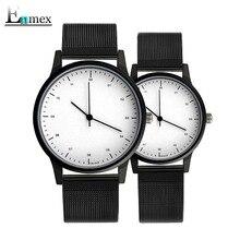 2017 reloj de los pares reloj Enmex regalo fresco Breve vogue con estilo simple de acero inoxidable banda de cuarzo ocasional reloj del amante de la moda