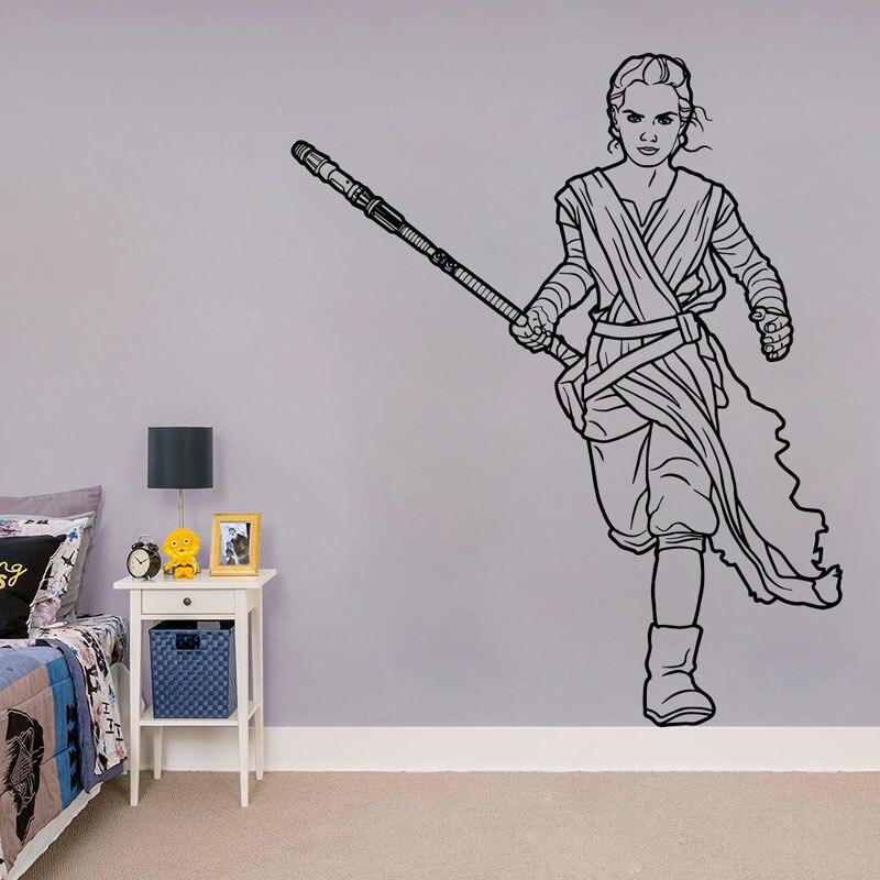 Rey Decal, Star Wars Art Décor, La Force Éveille Decal, Fathead Murale, star Wars Kid Chambre de Conception, Chambre Décoration C454