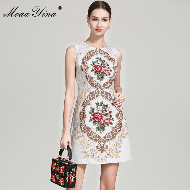 MoaaYina Fashion Designer Runway dress Summer Women s Dress Sleeveless Floral Beading Slim Elegant Vintage Dresses