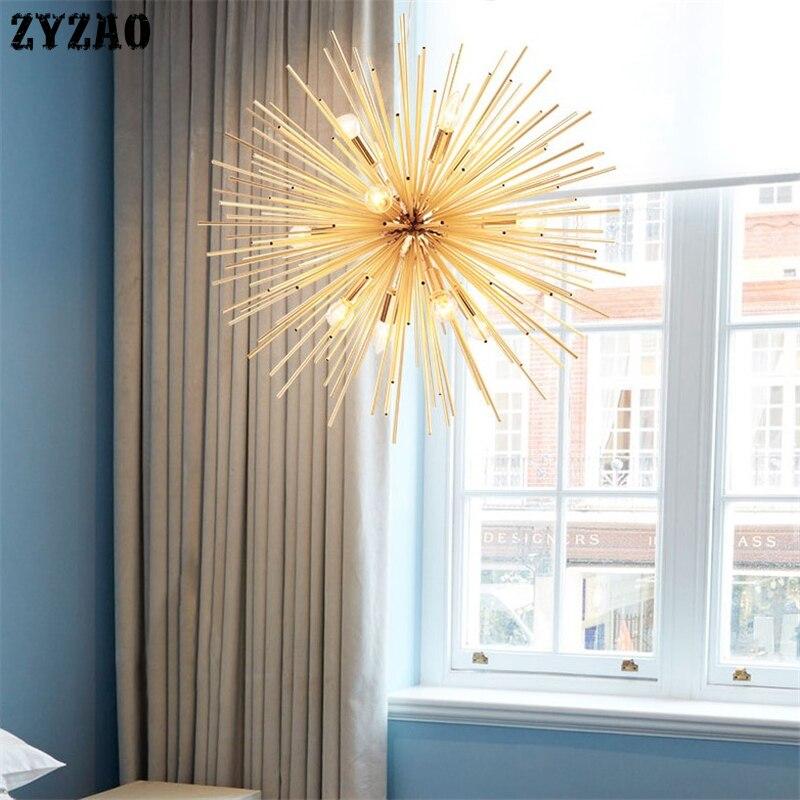Image 2 - Dandelion ouriço lustre iluminação tubo de alumínio spark ball  criativo lâmpada de ouro americano pós moderno restaurante  lustresLustres