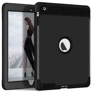 Image 1 - Für iPad 4 Tablet Fall High Impact 3 in 1 Hybird Volle körper PC Robuste Drop Schutz Abdeckung Fall für Apple iPad 4 3 2 Coque Capa