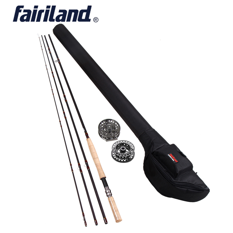 Fly Fishing combo 9/10 11/12 4.2M((14') 4 sections fly rod, Rod + Reel, Large Arbor fly reel combo with black rod bag fly fly ff179 black