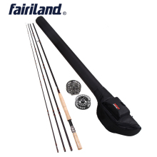 Fly Fishing rod combo 9/10 11/12 4.2M((14′) Four sections fly rod, fishing Reel, Massive Arbor fly reel rod combo with black rod bag