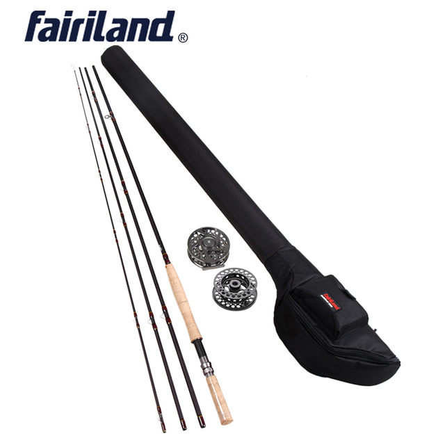Fly Fishing rod combo 9/10 11/12 4.2M((14') 4 sections fly rod, fishing Reel, Large Arbor fly reel rod combo with black rod bag