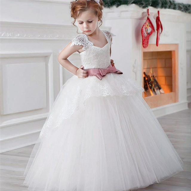 White Flower Girls Dresses For Wedding Tulle Lace Girl Frocks Party  Christmas Costume Children Teenage Girl Long Evening Gown e9313ffa2a64