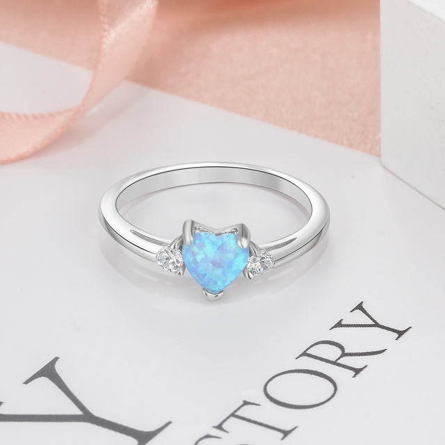 Classic Eternal Heart 925 Sterling Silver Rings for Women Blue Pink White Opal Ring Female Engagement Finger Ring (Lam Hub Fong) 5