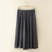 Mori Girl Vintage Cotton Linen Long Skirt Gray Orange Blue Womens Elastic High Waist Midi Skirts