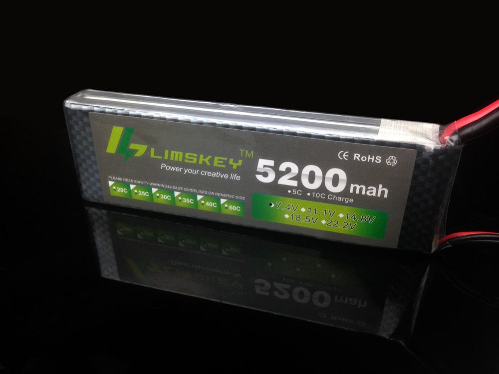 Limskey Power 7.4V 5200mAh Lipo Battery 30C 2S Battery 2S LiPo 7.4 V 5200 mAh 30C 2S 1P Lithium-Polymer Batterie For RC Car boat