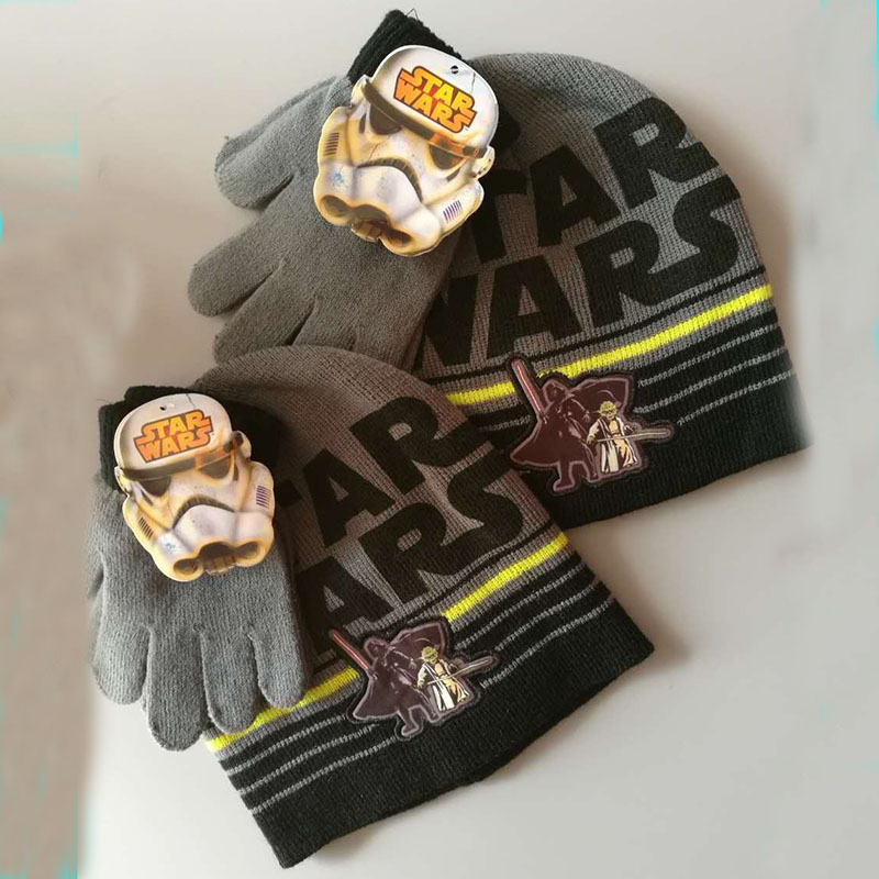 Brand Star Wars Children Kids Boys Knitted Gloves Hats Sets Winter Cartoon Christmas Day New Year Halloween Gift